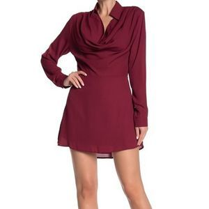 One One Six Red Mauke Cowl Neck Shift Dress Med